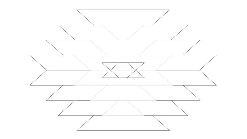 テーブルに転写するためのオルテガ柄の図面