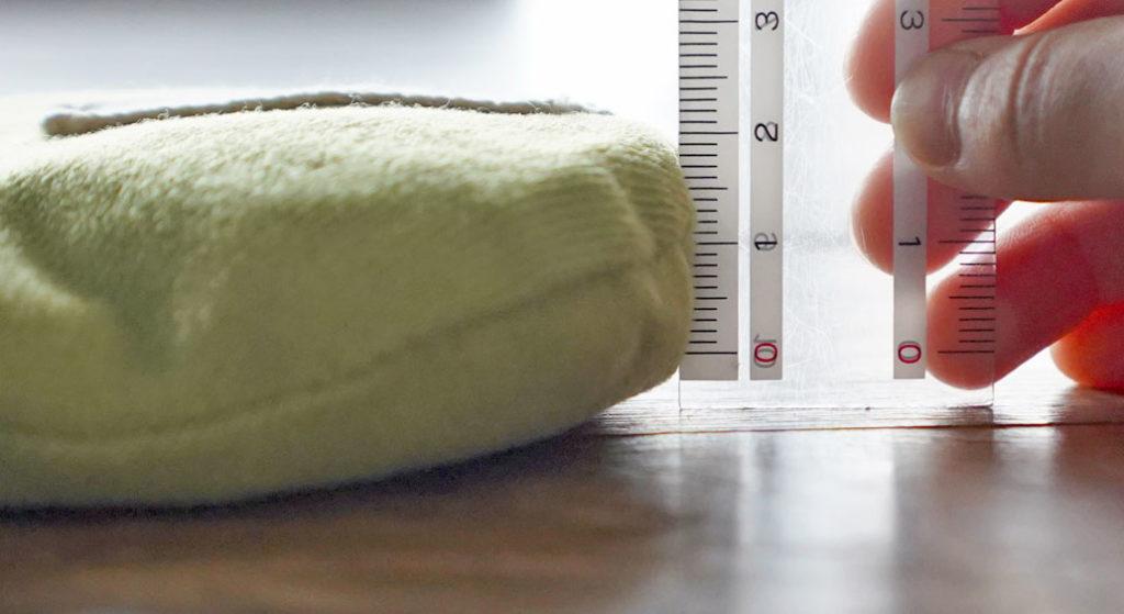 GAYA ハーバルパッドの厚みは、およそ2.5~3cm