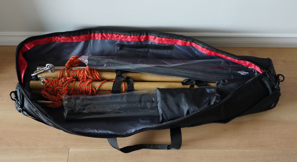 タープポール、ハンモックスタンドのポールも余裕で収納できる三脚ケース