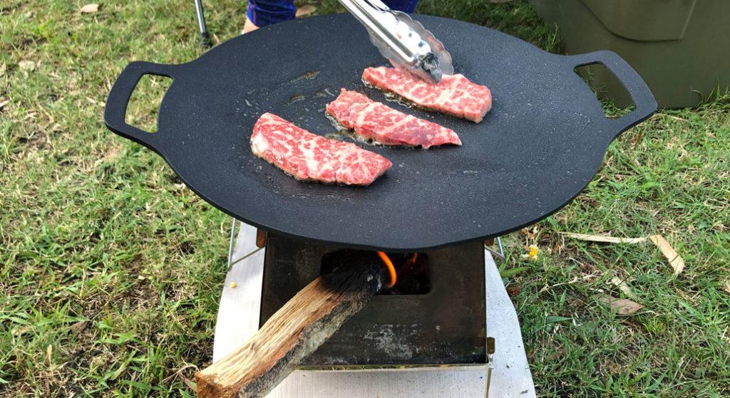ユニフレーム ネイチャーストーブラージで焼き肉