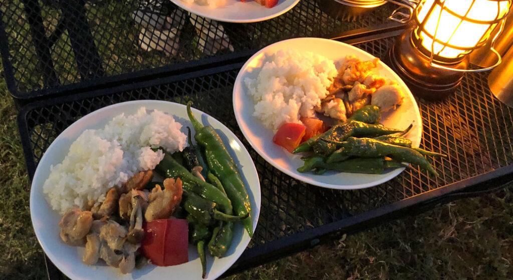 マルチグリドルパンで痛めた鶏肉と野菜のワンプレートキャンプ飯